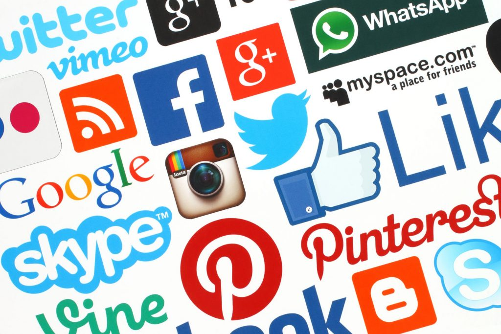 Social media logos, Google logo, Skype logo, Instagram logo, WhatsApp logo, Pinterest logo, Myspace logo