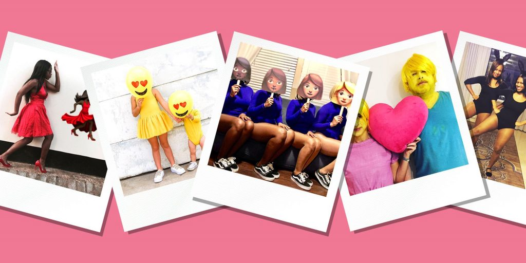 emoji costumes, people in emoji costumes, emoji outfits