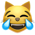 Cat With Tears Of Joy emoji, Apple's Tears Of Joy emoji, Cat emoji