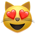 Apple's Smiling Cat With Heart Eyes, Smiling Cat With Heart Eyes, Smiling Cat With Heart Eyes symbol, Apple version of the Smiling Cat With Heart Eyes emoji