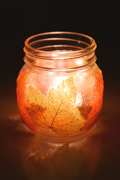 Mason jar leaf lanterns, leaf lanterns, lanterns with leaves