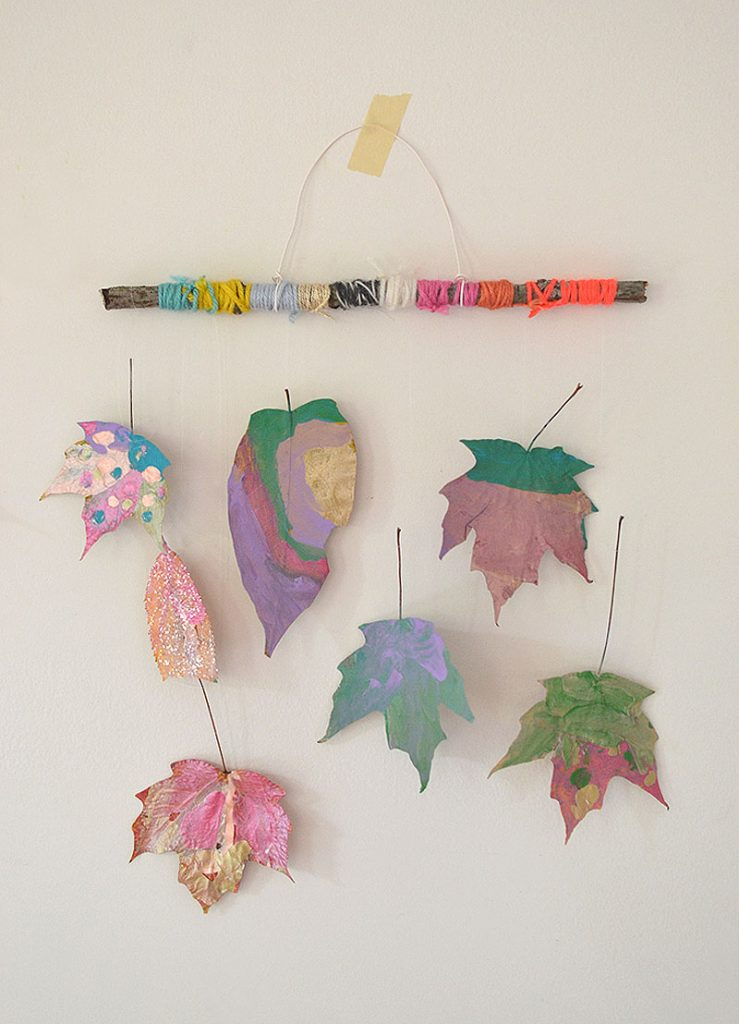 Fall mobile, autumn leaf mobile, leaf crafts