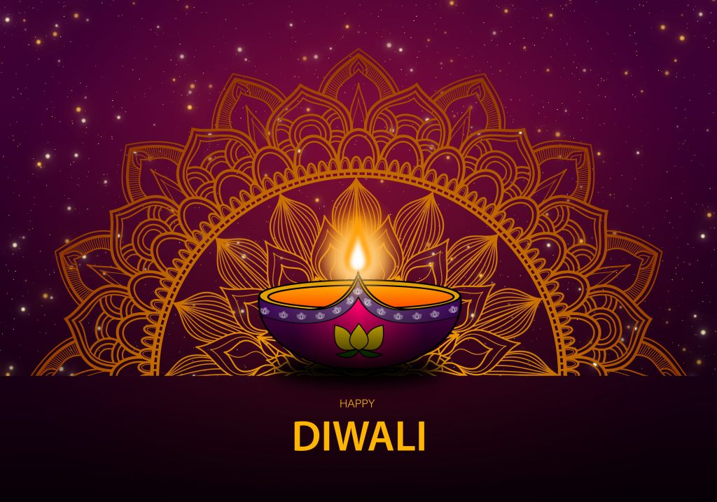 Diwali lamp, Diwali design, Diwali logo, Diya lamp against a violet background