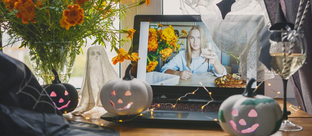 Halloween online holiday remote celebration halloween in lockdown coronavirus quarantine covid 19 new normal, social distance, remote communication, stay home vocation