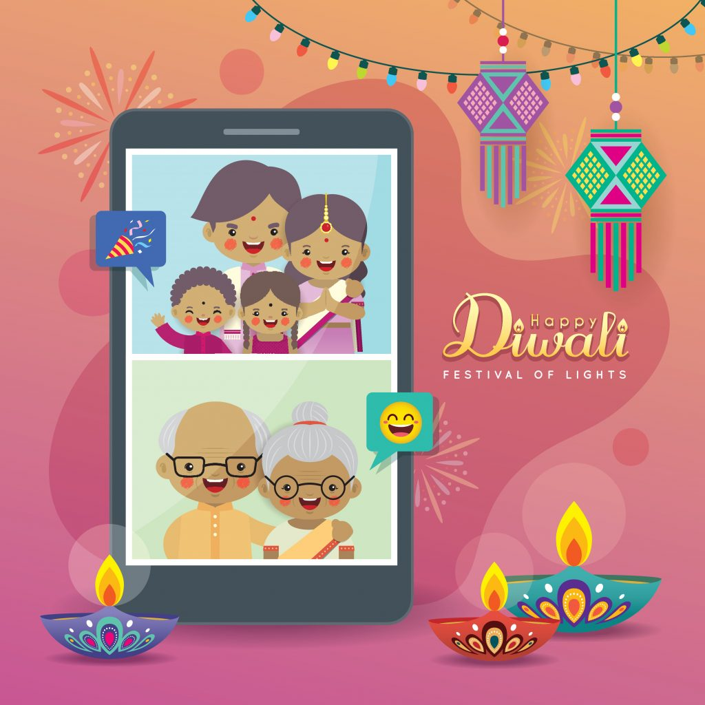 Cartoon photo of Indian people doing a video call, cartoon photo of Indian family during Diwali, cartoon illustration of family video chat