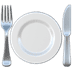 Fork And Knife With Plate emoji, Apple version of the Fork And Knife With Plate emoji
