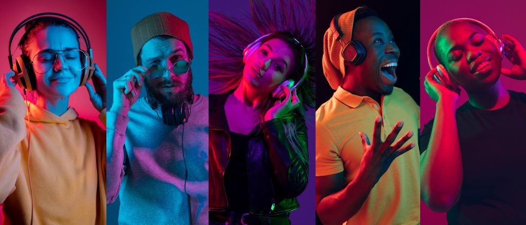 Collage of portraits of young emotional people on multicolored background in neon. Concept of human emotions, facial expression, sales. Smiling, listen to music with headphones. Flyer for ad, proposal.