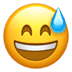 Grinning Face With Sweat, Apple version of the Grinning Face With Sweat emoji, smile emoji
