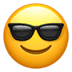 Apple version of the Smiling Face With Sunglasses, smile emoji, Smiling Face With Sunglasses emoji