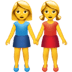 Women Holding Hands emoji, Apple version of the Women Holding Hands emoji
