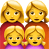 Family : Woman, Woman, Girl, Girl Emoji, Apple version of the Family : Woman, Woman, Girl, Girl Emoji