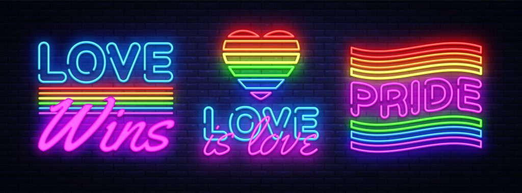 Big set neon sign. LGBT neon signs vector design template. Gay Pride neon logo, light banner design element colorful modern design trend, night bright advertising, bright sign. Vector illustration. Rainbow Flag emoji