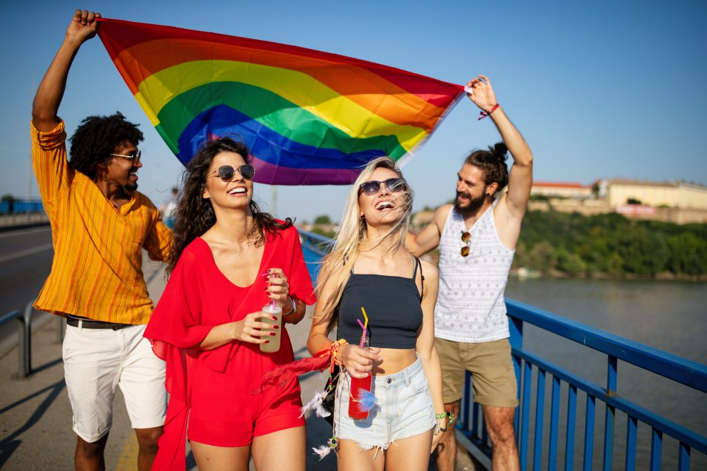 Happy group of friends, people attend a gay pride event, Group of friends, people attend a gay pride event, Rainbow flag, Rainbow Flag emoji