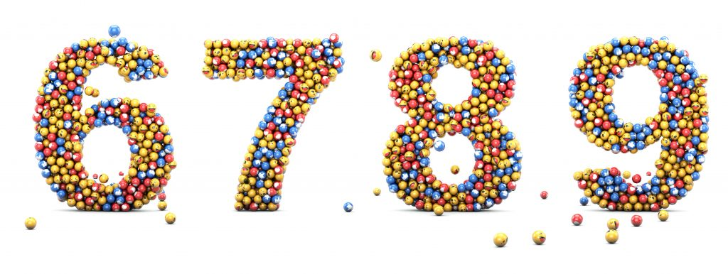 Emoji reactions numbers 6, 7, 8 9. Numbers, emoticons, set for social medias, and social networks. 3D render.