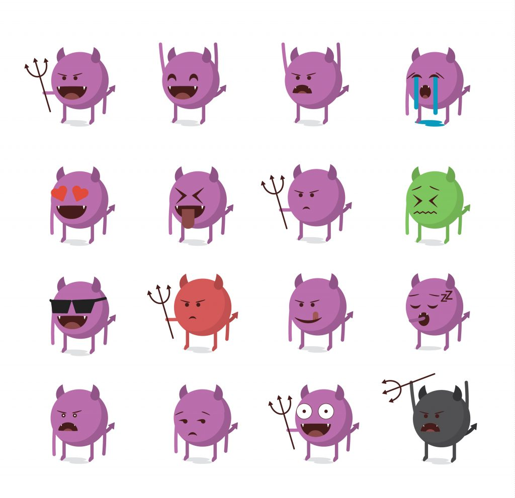 Devil emojis, row of Devil emoji, different types of Devil emoji