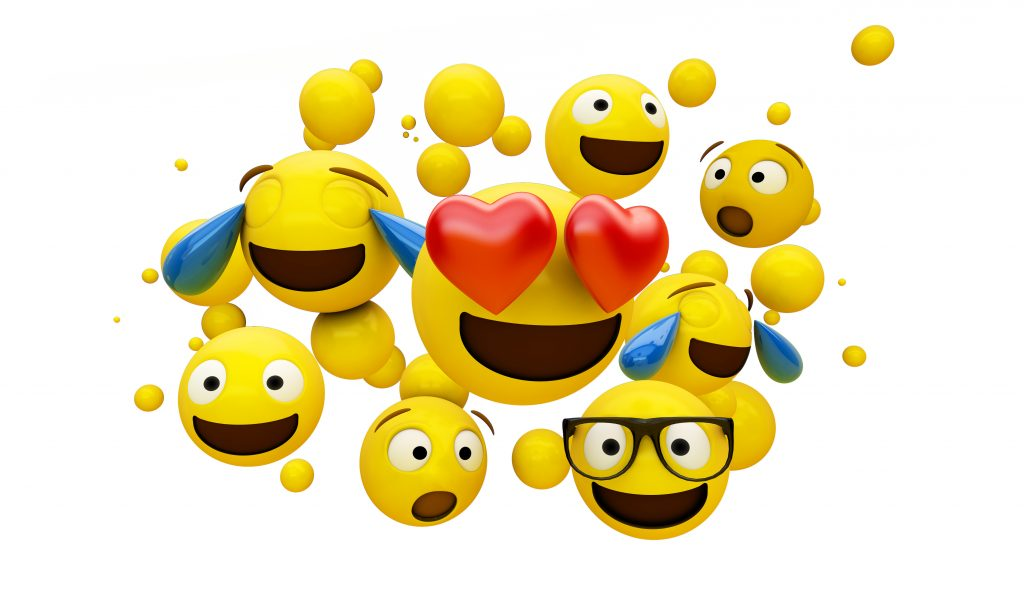 group of emoticons isolated on white background 3d rendering, emojis, group of emojis