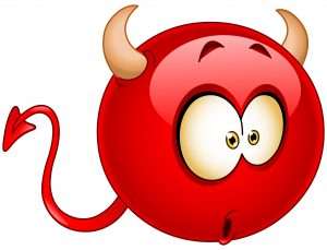 Red devil emoticon with a wondered confused surprised expression on his face