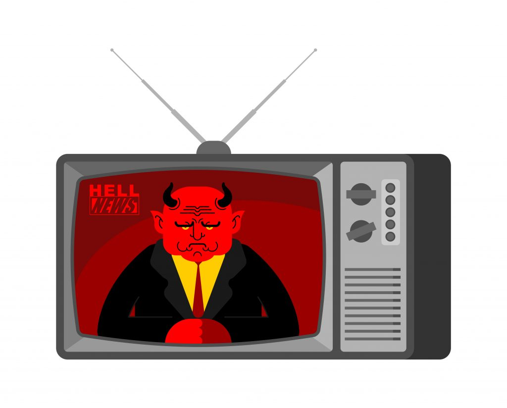 Hell News TV old television. Satan broadcasting journalist. Devil Anchorman in tv studio. Live broadcasting.