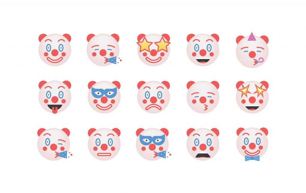 Set of clown emoticon vector