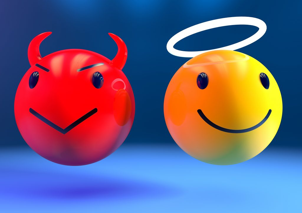 3d render of an angel and a devil emoji side by side on a blue background