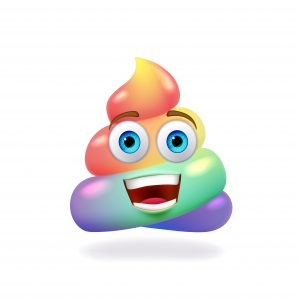 Happy Rainbow colored unicorn poop, fabulous animal excrement, vector icon.