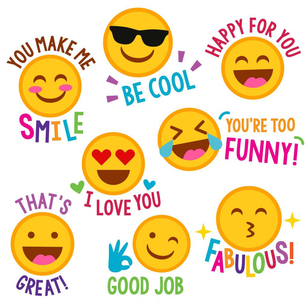 encouraging emojis, emoji card, positive emojis