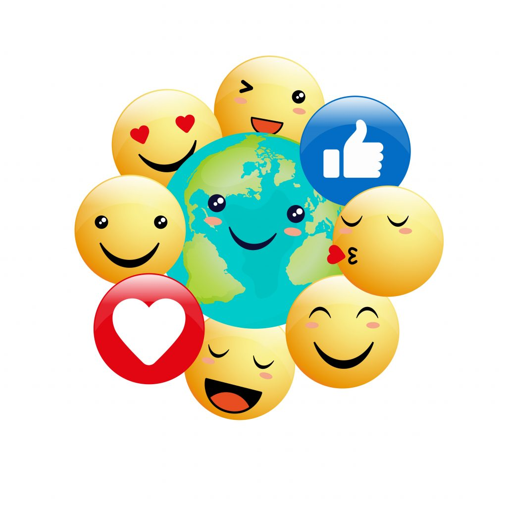 illustration for Earth Day or environmental events showing happy earth in the style of kawaii, emojis surrounding the Earth, emojis, group of emojis
