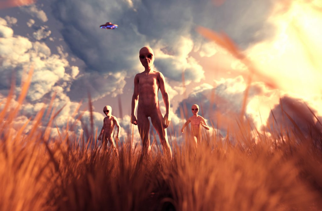 An aliens in grass field,3D illustration concept background