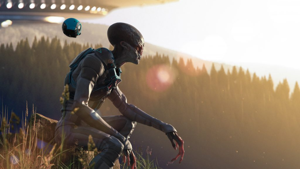 Alien landed on our planet earth in mountains at the sunset contemplating our beautiful nature - concept art - 3D rendering