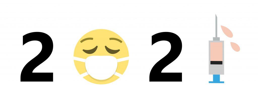 2021 sign, 2021 with new normal symbols, 2021 coronavirus campaign