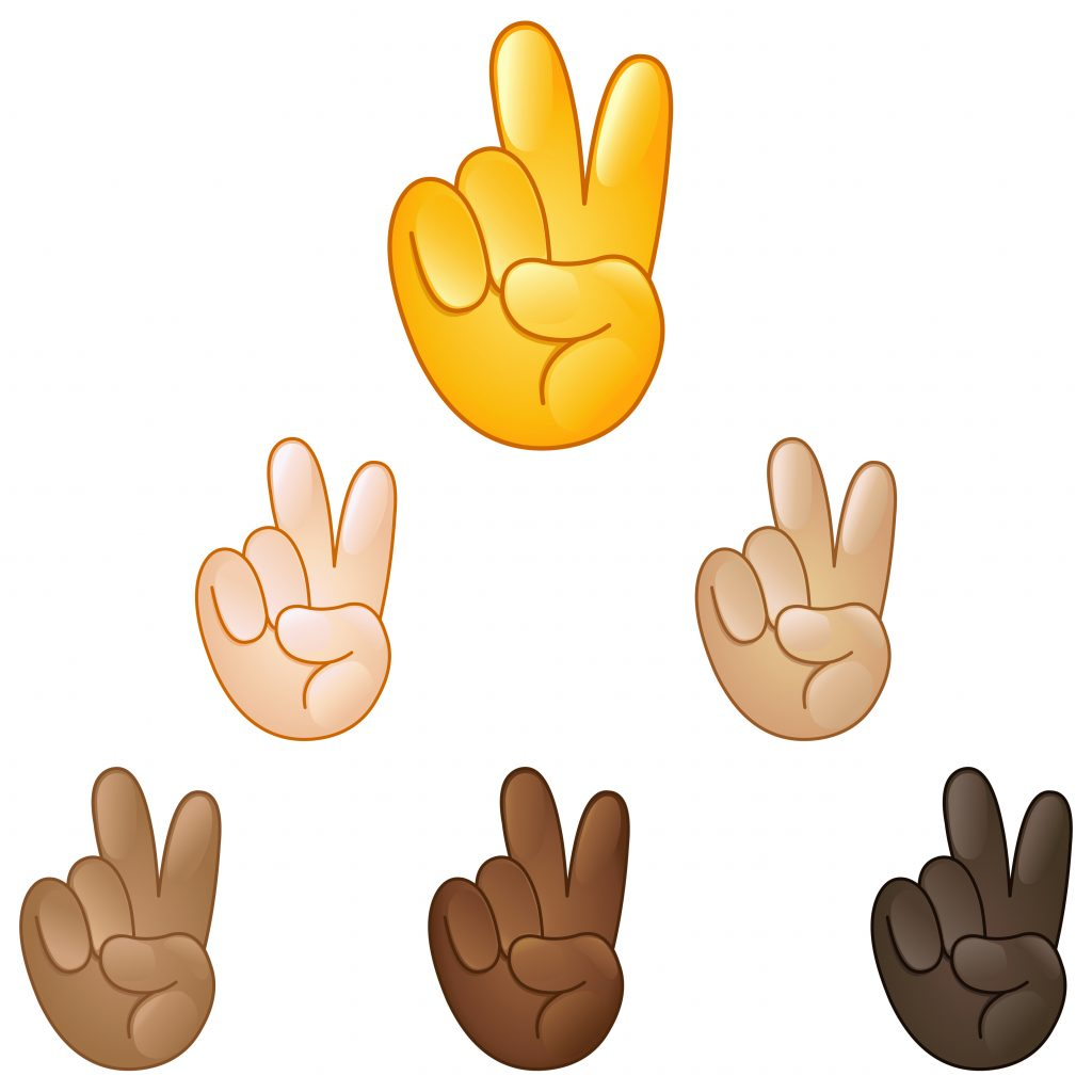 Victory hand emoji set of various skin tones, Peace Sign emoji, Peace Sign