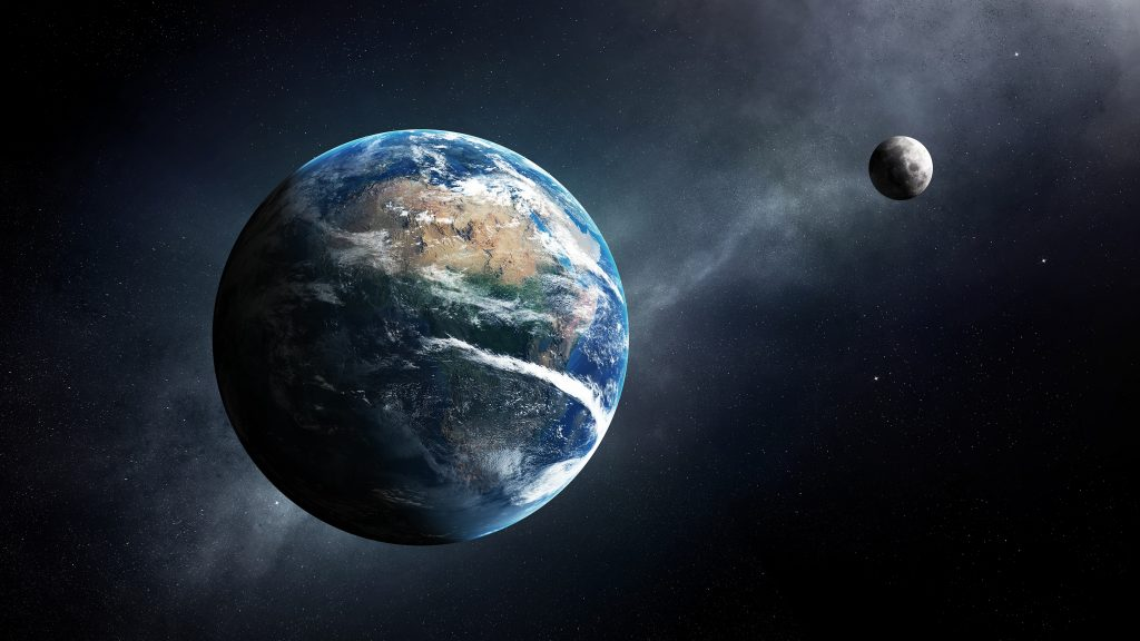Earth and moon in space with milky-way ( Elements of this 3D render furnished by NASA - Texture map from http://visibleearth.nasa.gov )
