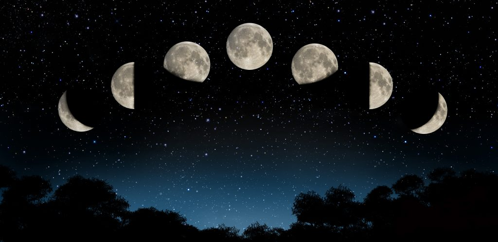Phases of the moon in the night sky