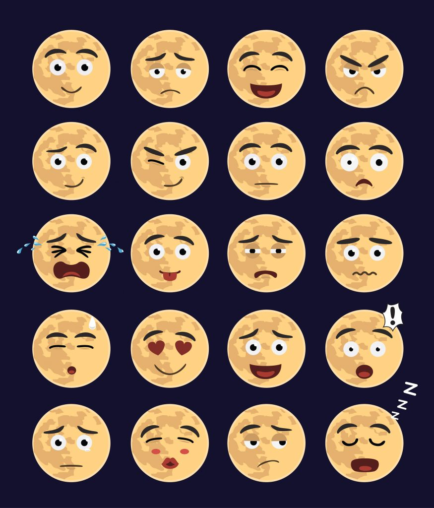 Row of moon emoji, moon emoji faces
