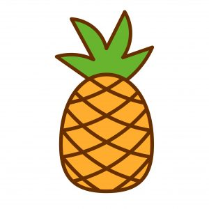 Vector Cartoon Pineapple Icon Isolated On White Background