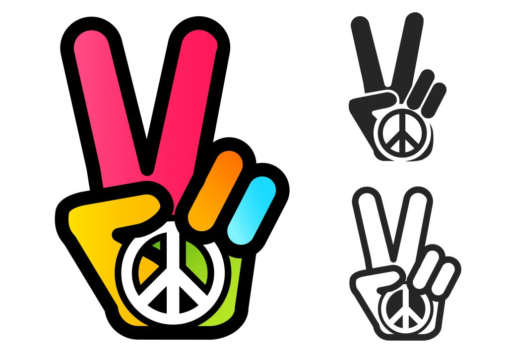 Vector icon with colorful hand and peace symbol. Hand and two fingers are like peace symbol.