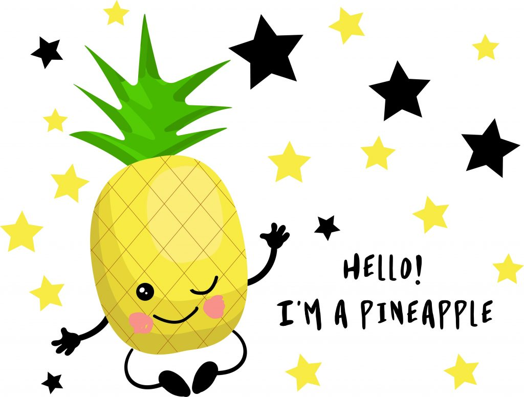Cute kawaii character. Pineapple. Tropical fruits. Children's cards for learning. Healthy food