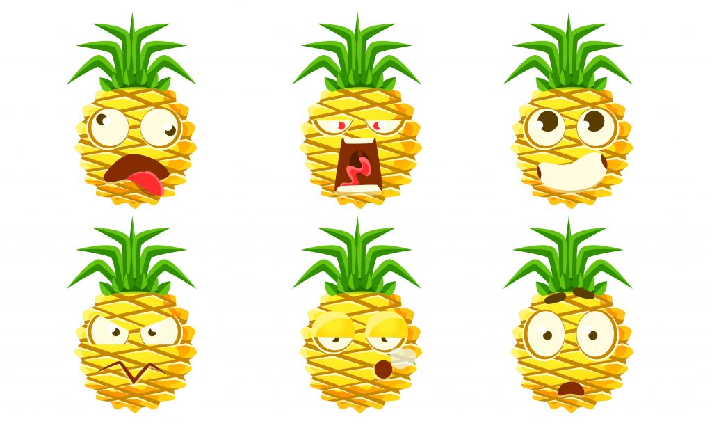 Funny Pineapple Character Set, Cute Tropical Fruit Emojis with Various Facial Expressions Vector Illustration on White Background