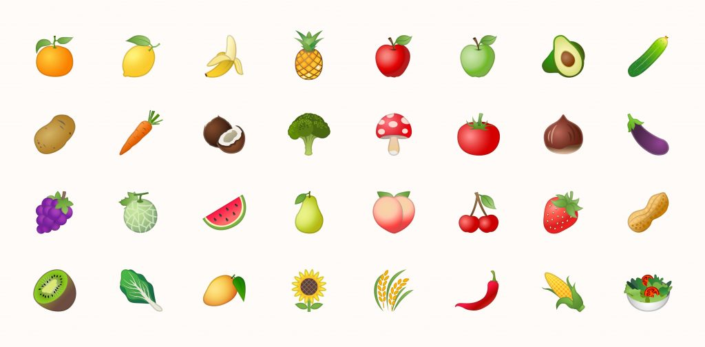 Fruits vector icons set. Fruits are apple, lemon, banana, orange, pear, pineapple, grapes, cherries, strawberry, and blueberries emojis collections, pineapple emoji