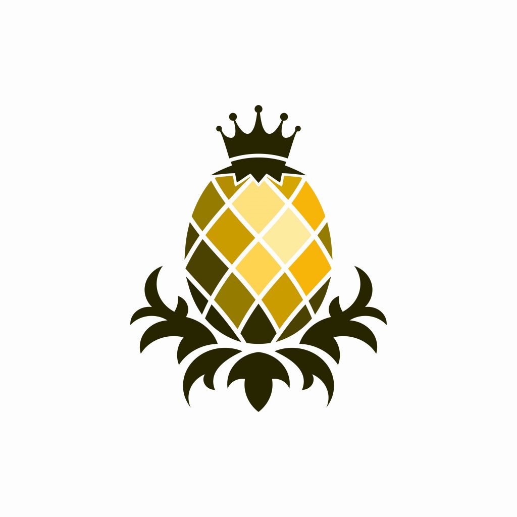 Pineapple emoji, pineapple symbol, drawing of pineapple with a crown, brown and yellow pineapple