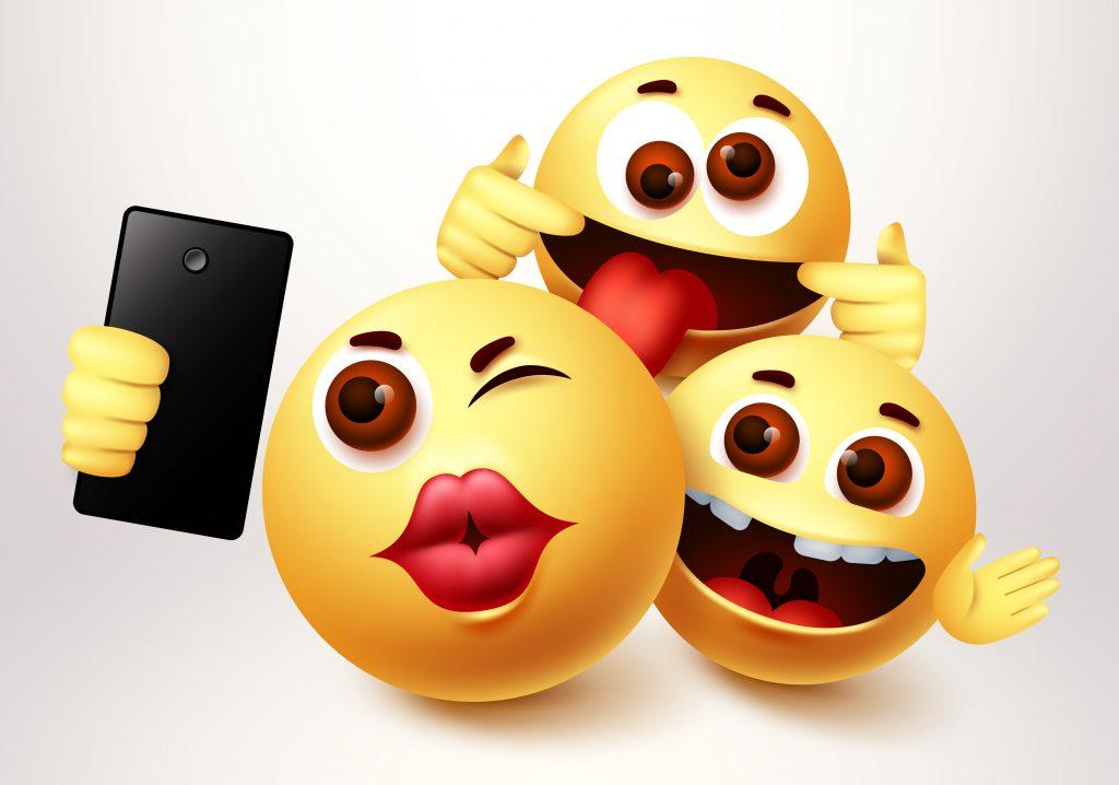smileys taking photos, different emojis taking a selfie, smiley groupfie