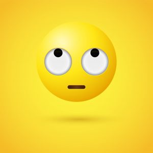 3d Emoji face with rolling eyes, disdain, disapproval, frustration, or boredom character, looking up emoticon, Eye Roll emotion, eye roll, eye roll emoji