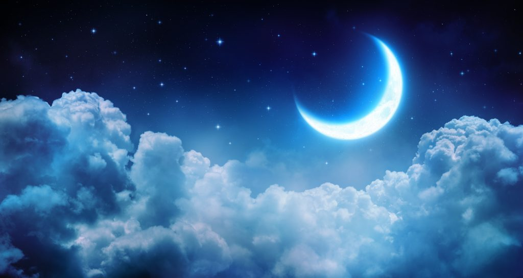 Crescent moon, crescent moon in the night sky