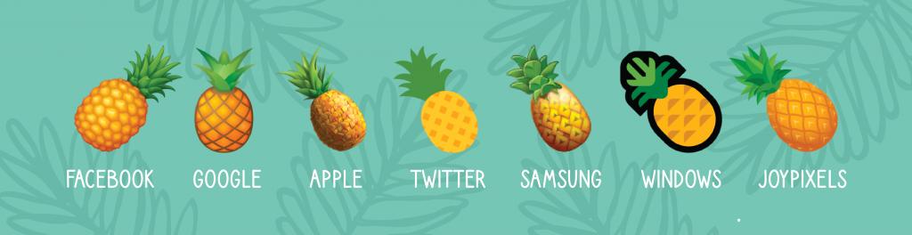 pineapple emojis on different platforms
