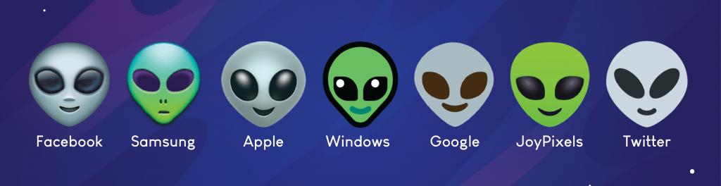 Alien emojis on different platforms