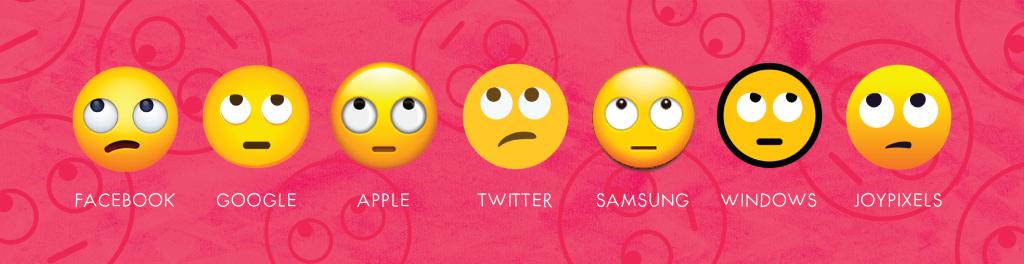 eyeroll emoji on different platforms