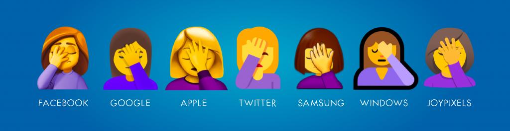 facepalm emoji on different platforms