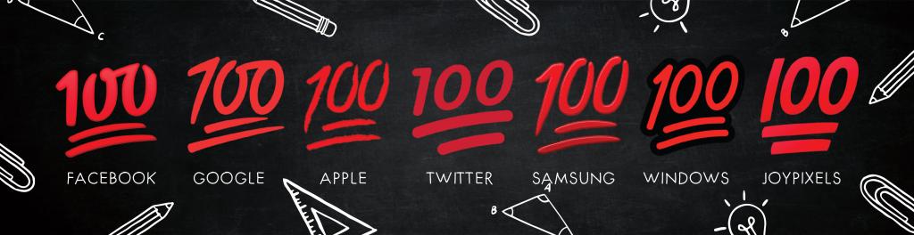 hundred points emoji on different platforms