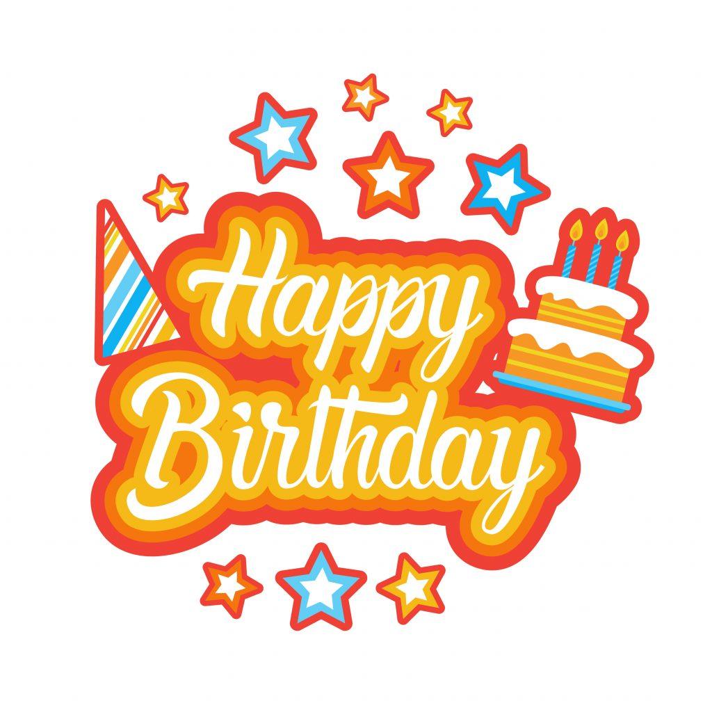 Happy Birthday Sticker Social Media Network Message Badges Design Vector Illustration