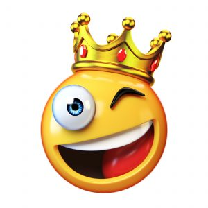 Smiley with a crown. Crown emoji, Winking smiley with a crown